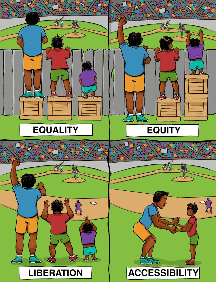 """[A comic with four panels. The first panel [top left] features three people with brown skin, wearing shorts and t-shirts. They stand on boxes that are all the same size, and watch a baseball game from behind a fence. The tallest person and medium-height person appear to be able to see over the fence, but the shortest person cannot. This is titled """"Equality."""" The second panel [top right] is the same, except now the box the tallest person was standing on is beneath the shortest person, and all appear to be able to see over the fence. This is titled """"Equity."""" The third panel [bottom left] has no boxes and no fence. All are cheering. This is titled """"Liberation."""" The fourth panel [bottom right] features the tallest person doing tactile interpreting for the medium-height person, who we realize is wearing dark glasses. This is titled """"Accessibility.""""]"""